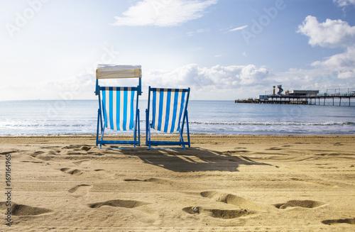 Obraz na płótnie Deck Chairs on Sandown Beach on the Isle of Wight
