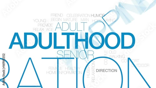 Valokuva Adulthood animated word cloud, text design animation