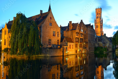 Wall Murals Bridges Twilight view of the Brugges's channel