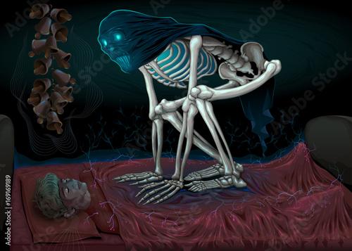 Staande foto Kinderkamer Sleep paralysis. Horror scene with demon in the bedroom