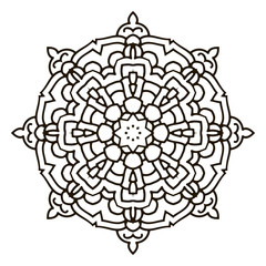 Mandala. Black and white decorative element. Picture for coloring.