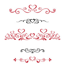 Vector Set Decorative Vignettes With Hearts, Vintage Borders. Red And Black Vignettes On A White Background