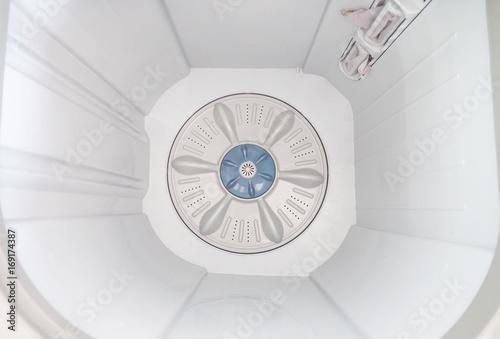 Top view inside  Washing machine . Wallpaper Mural
