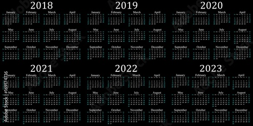 Poster  Six year calendar - 2018, 2019, 2020, 2021, 2022 and 2023 in black background