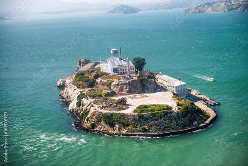 Canvas Print Aerial helicopter view of Alcatraz Island, San Francisco