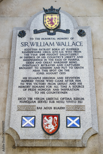 Fotografia, Obraz Sir William Wallace Plaque in London