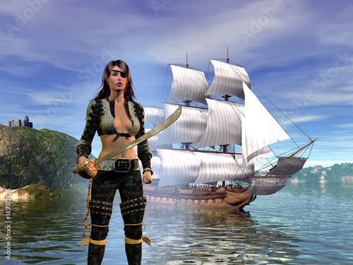 Fotografia pirate woman with her sword in front of the galleon in the bay, 3d illustration