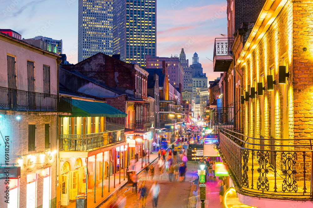 Fototapety, obrazy: Pubs and bars with neon lights in the French Quarter, New Orleans
