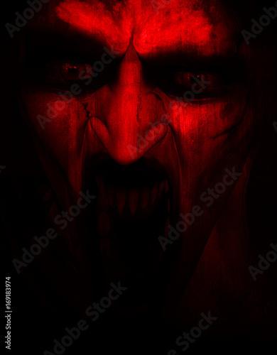 Stampa su Tela 3d illustration of Satanic,Horror background,mixed media