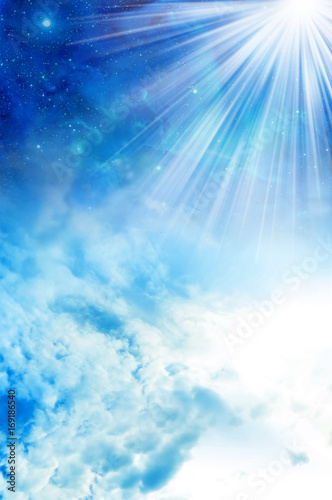 Fotografering  Divine, spiritual, angel, mystic sky with rays of light like background