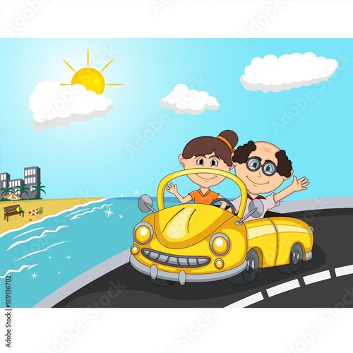 Staande foto Cartoon cars Car, a couple old passengers with beach background cartoon