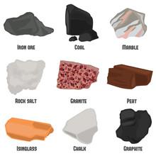 Minerals Color Flat Icons Set ...