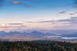 Autumn sunset panorama of Tatra mountains, Poland. Sunny evening.