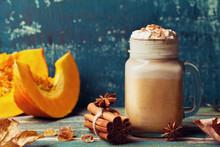 Warm Pumpkin Spiced Latte Or C...