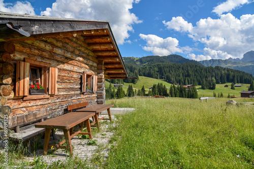 Alm-Idylle in Südtirol mit uriger Hütte Fototapet