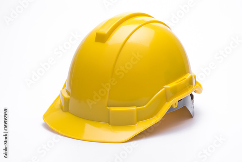 Fotografía  Yellow safety helmet isolated on white background.