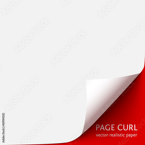 Obraz Curled corner of paper with shadow on red background - fototapety do salonu