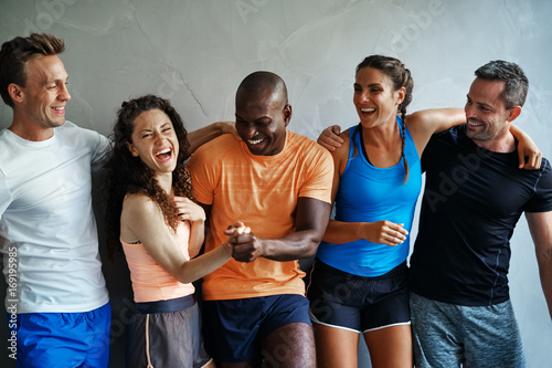 Fotografie, Obraz  Diverse group of friends laughing together at the gym