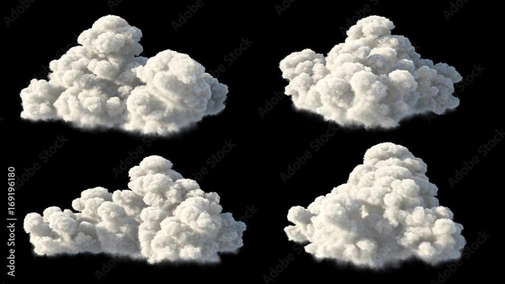 Fototapety, obrazy: isolated clouds over black