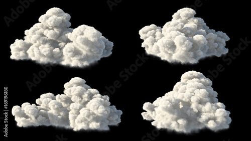 isolated clouds over black
