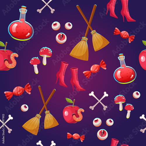 Cotton fabric Seamless halloween pattern. Funny background with scary objects. Vector illustration with eyes, candle, toadstool, potion, pumpkin, pumpkin, witches hat in cartoon style.