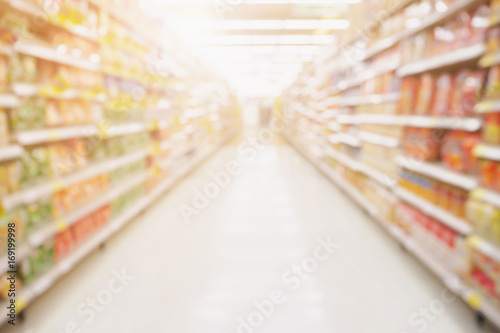 Fotografie, Obraz  Empty Supermarket aisle shelves abstract blur defocused business background