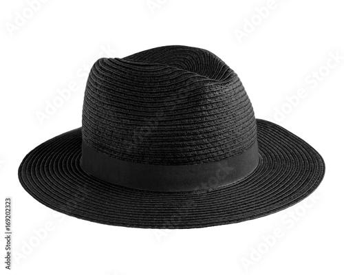 802266eae2956 Black elegant straw hat isolated on white - Buy this stock photo and ...