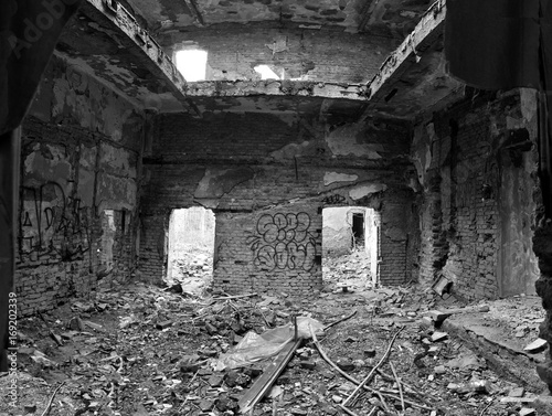 Poster Ruine ruined buildings after the bosnian war in cities of bosnia and herzigovina