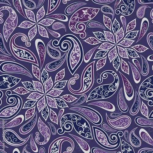In de dag Boho Stijl Abstract vintage pattern with decorative flowers, leaves and Paisley pattern in Oriental style.
