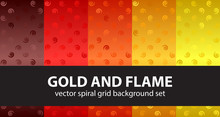 Spiral Pattern Set Gold And Flame. Vector Seamless Backgrounds