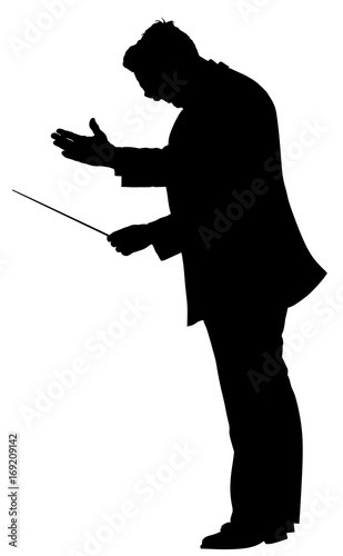Music conductor vector silhouette illustration isolated on white background Wallpaper Mural