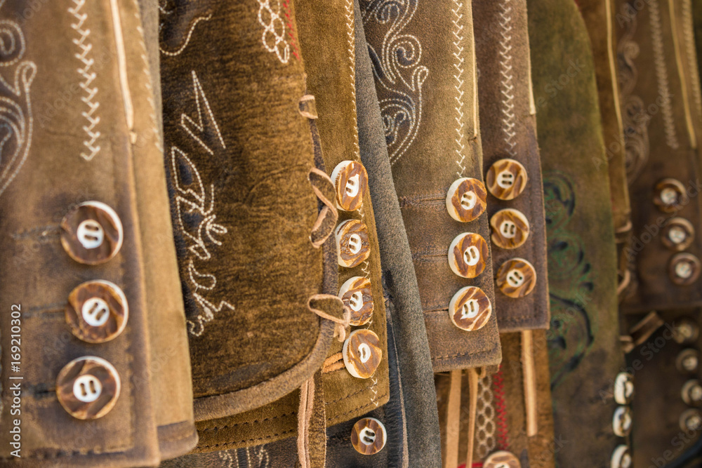 Fototapety, obrazy: Traditional austrian and bavarian leather pants (lederhosen), closeup of buttons