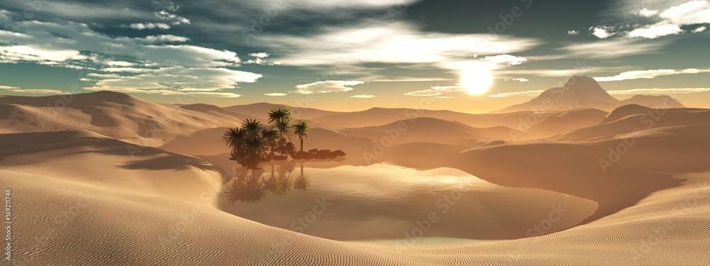 Fototapeta Beautiful oasis in the sandy desert, panorama of the desert landscape, sunset over the sands, 3D rendering