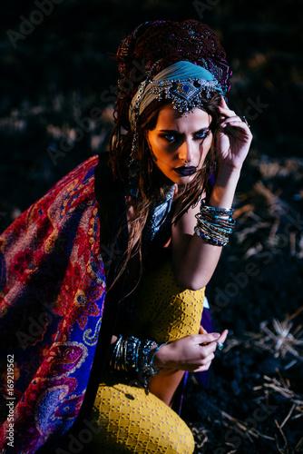 Poster Gypsy stylish boho woman