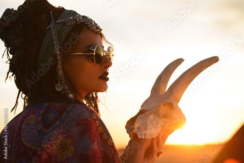 Poster Gypsy fortune teller on sunset