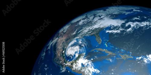 Zdjęcie XXL Bardzo szczegółowe i realistyczne wysokiej rozdzielczości 3D ilustracji huraganu zbliża Texas. Strzał z kosmosu. Elementy tego obrazu są dostarczane przez NASA.