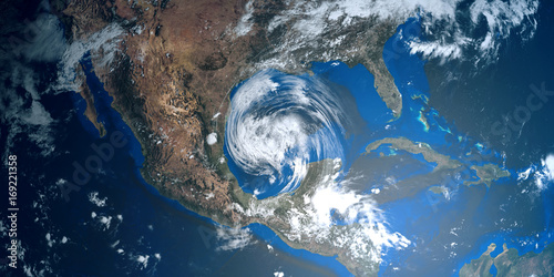 Fotografía  Extremely detailed and realistic high resolution 3D illustration of a Hurricane approaching Texas