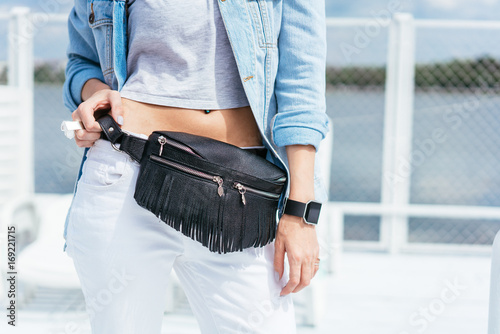 Photo Stands Martial arts Woman with a bag