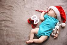 Cute Little Baby In Santa Hat ...