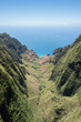 Aerial view of valley and ocean // Kauai