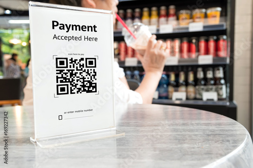 Valokuvatapetti Qr code payment , online shopping , cashless technology concept