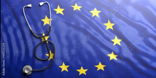 Obraz Stethoscope on European Union flag, 3d illustration - fototapety do salonu