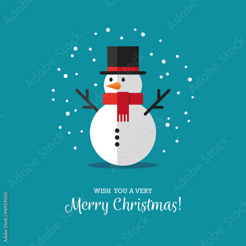 Fotografie, Obraz Flat snowman icon