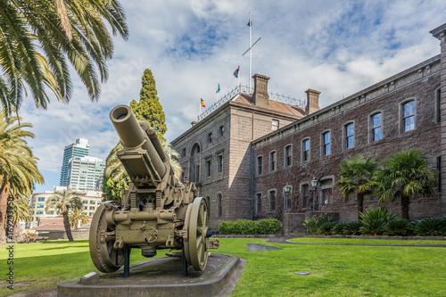 Melbourne, Australia - July 29, 2017: Vintage cannon in front of Victoria Barrac Canvas Print