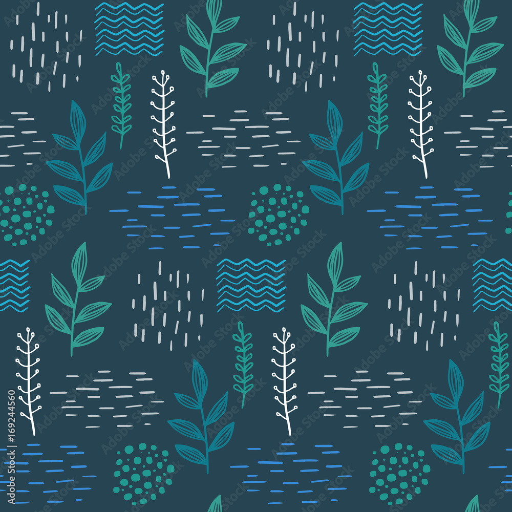 Floral seamless hand-drawn pattern scandinavian design style. Vector illustration
