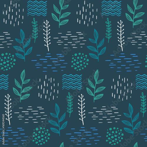 Floral seamless hand-drawn pattern scandinavian design style. Vector illustration