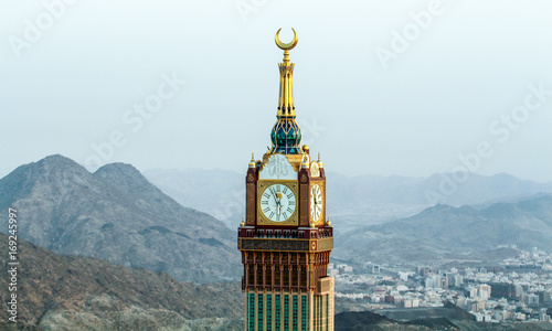 Mecca clock tower - mosque tower - in Mecca