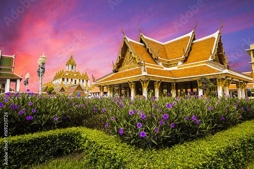 Photo  Famous Loha Prasat , Wat Ratchanatdaram ancient temple in Bangkok, Thailand in t