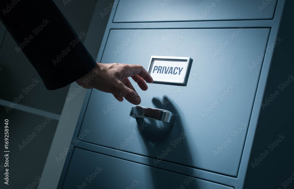 Fototapeta Office worker searching confidential information