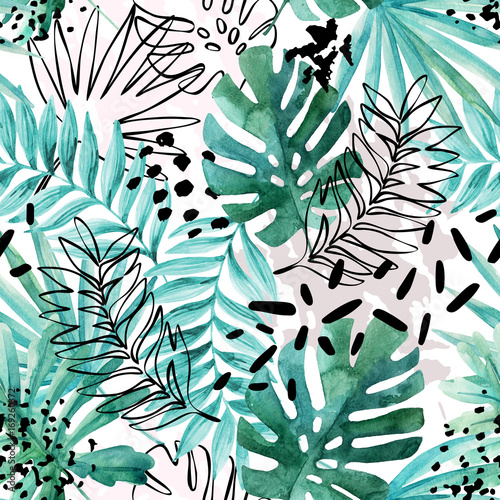 Stickers pour porte Empreintes Graphiques Abstract exotic leaves seamless pattern.